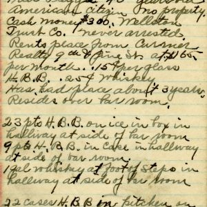 Prohibition raid notes from Federal Agent Paul Toelle.
