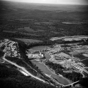 Aerial photograph showing the construction of Table Rock Dam in Taney County Missouri.