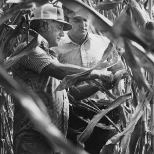 Bernard Francka and Bernard Francka Jr. inspected their corn crop on their family farm in Bolivar, Missouri.