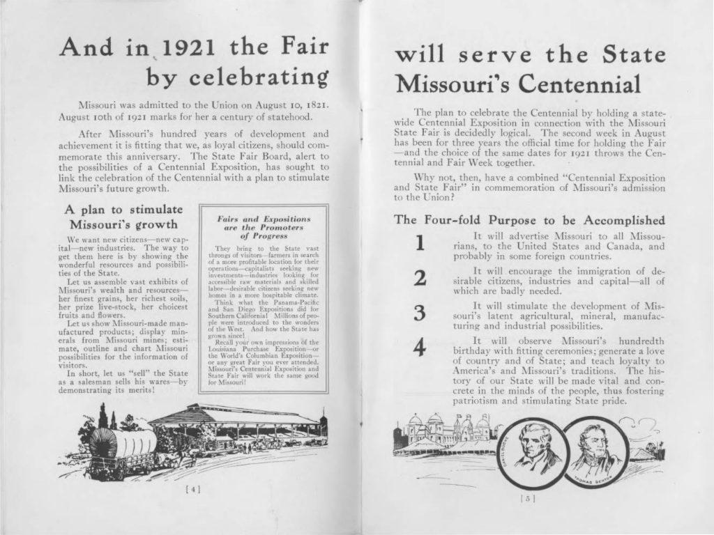 Section of the program describing the goals of the Centennial Celebration.