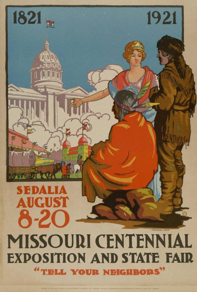 Centennial Poster. Columbia guides a pioneer and a Native American man towards the Centennial Fair in Sedalia.